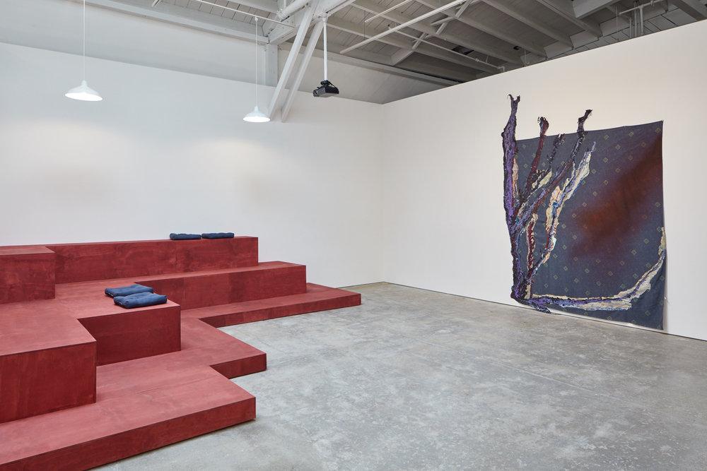 Black Light, 2017; installation view, showing work by Rodney McMillian, Wattis Institute. Photo: Johnna Arnold.