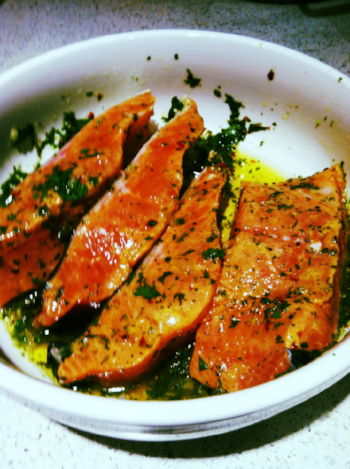 Marinated lemon salmon