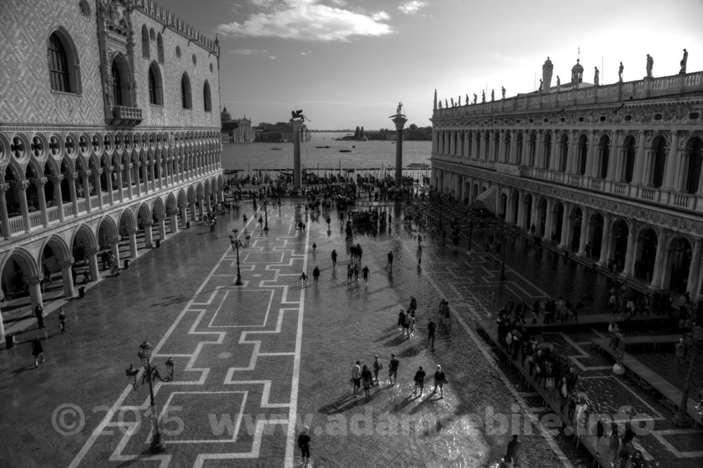 Venice Piazza San Marco disappears underwater during high tide floods