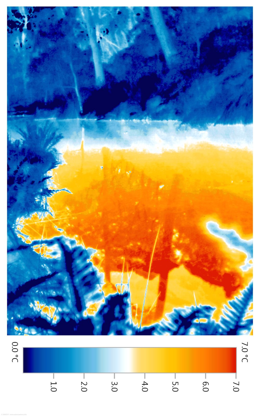 Thermal image of a lake in winter