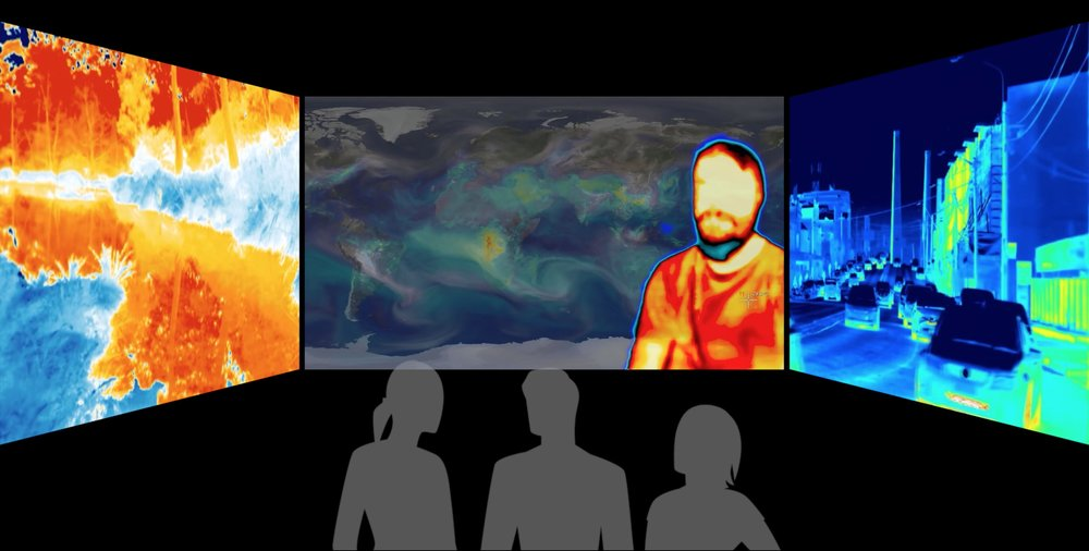 "Feeling the Heat     (2018)   Thermographic video triptych, 15'00"" Climate scientists discuss how they respond to their research — as citizens of the planet."