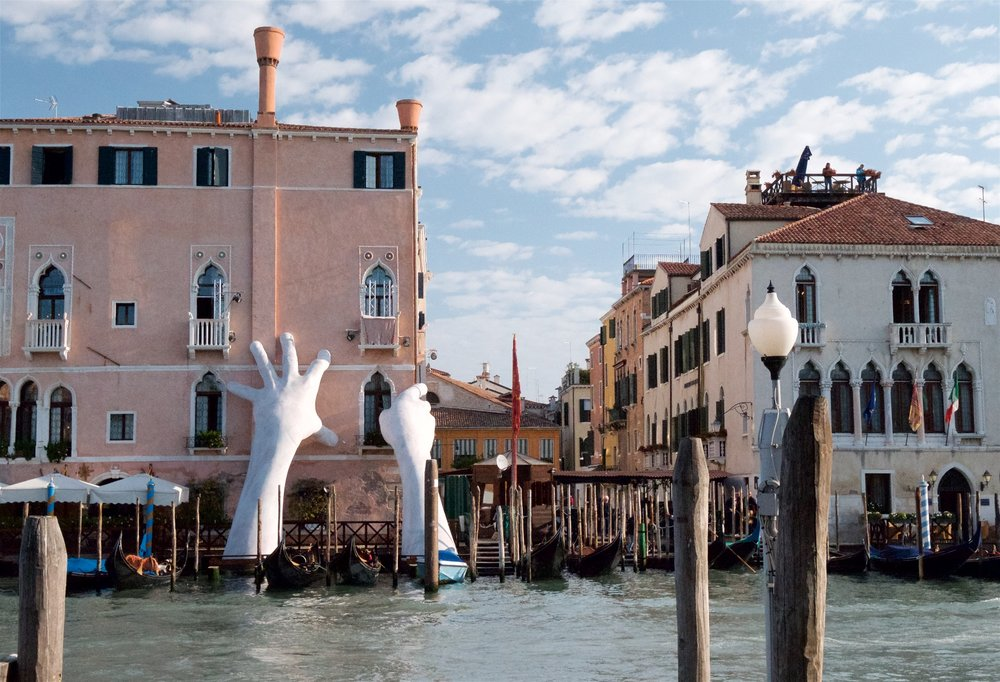 "Venice / sea level rise — Artist Lorenzo Quinn's ""Support"" (2016)"