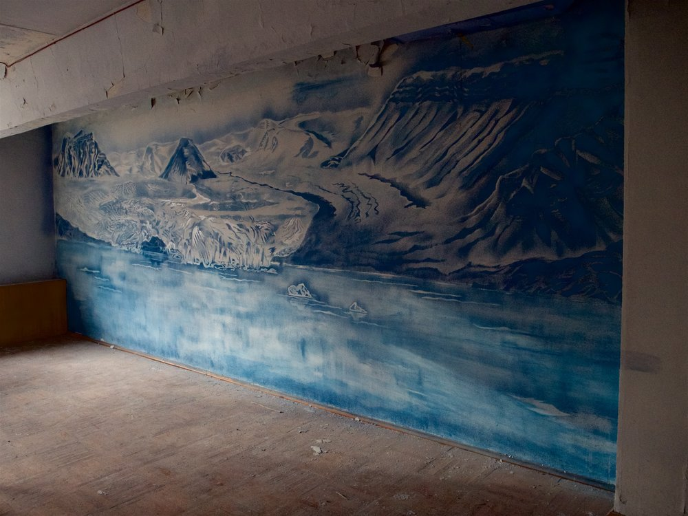 Painting of the (now receding) glacier near Pyramiden coal mine