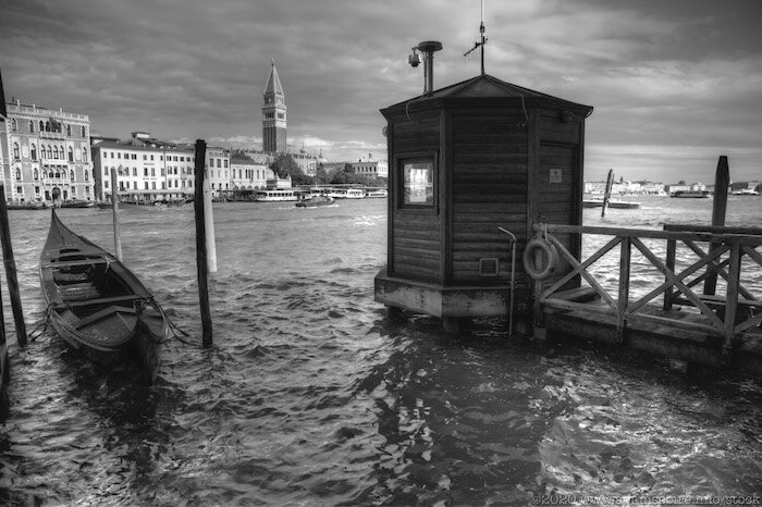 Tide gauge, Venice, during high tide flooding