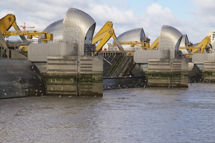 Thames River Flood Barriers are raised