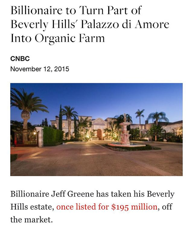 Beverly Hills going way back to it's roots...literally. Credit: @cnbc | After failing to attract a buyer, even after slashing the price by $46 million, the real estate magnate has a new plan: Turn part of the trophy property into an organic farm. #CNBC #realestate #SCHL #RPBLQ