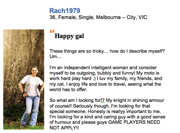 Online dating profile template