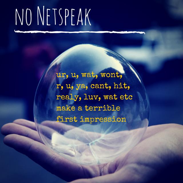 no netspeak online dating email messaging