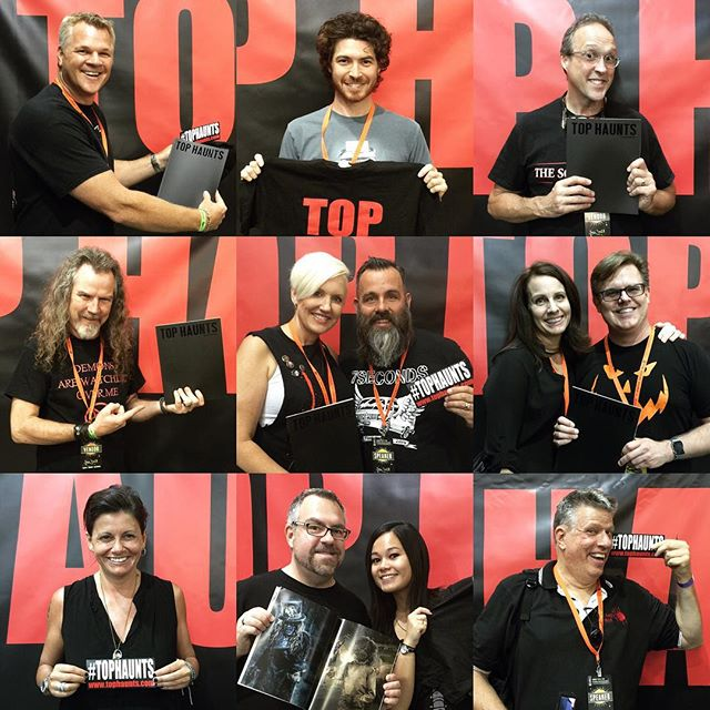 Thanks to everyone who stopped by our booth at ScareLA this past weekend! We had a great time! 🎃 Pictured: Bruce Stanton, Jacob Chase, Scott Ramp, Larry Bones, Eryn Krueger Mekash, Mike Mekash, Lori Merkle Ford, Matt Ford, Melissa Carbone, Rick West, Johanna Atilano and Russ McKamey #tophaunts #scarela