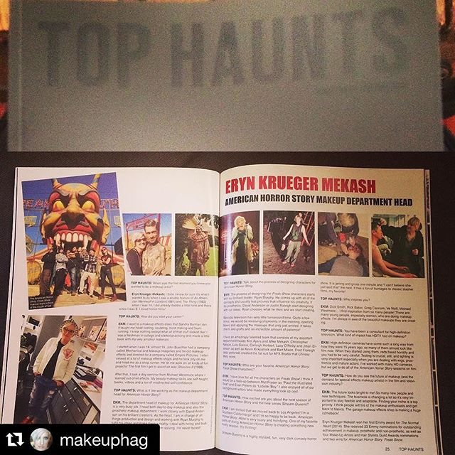 """@tophaunts magazine is a great place to find all of your favorite haunt stops! They honored me with a super cool interview! All my peeps are doing the weirdo pose in front of the Mouth of Hell-yes, we were joking..."" @makeuphag #tophaunts #americanhorrorstory #fxmakeup"
