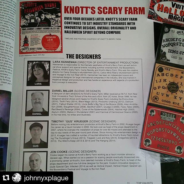 """So stoked to find myself in the @tophaunts magazine for their west coast addition featuring #scaryfarm #lahauntedhayride #darkharbor and more!!"" @johnnyxplague #tophaunts #knottsscaryfarm"