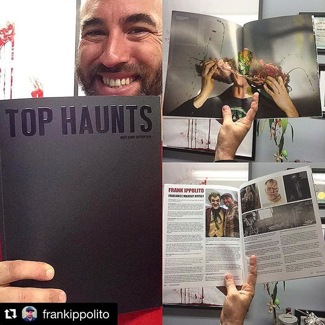 """Top Haunts just sent me a copy of their newest issue, and they did a few pages about me! Pretty Cool!"" @frankippolito #tophaunts #fxmakeup"