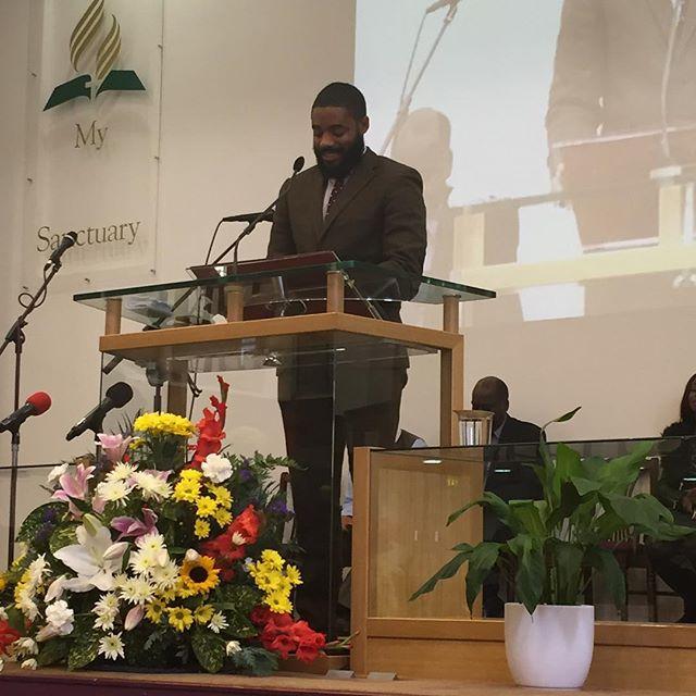 Andrew fuller @andrewaaronasherfuller preaching the word today. #PraiseGod