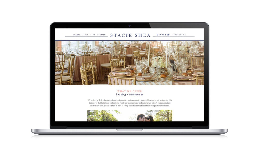 custom web design for event designers by Crème Brands