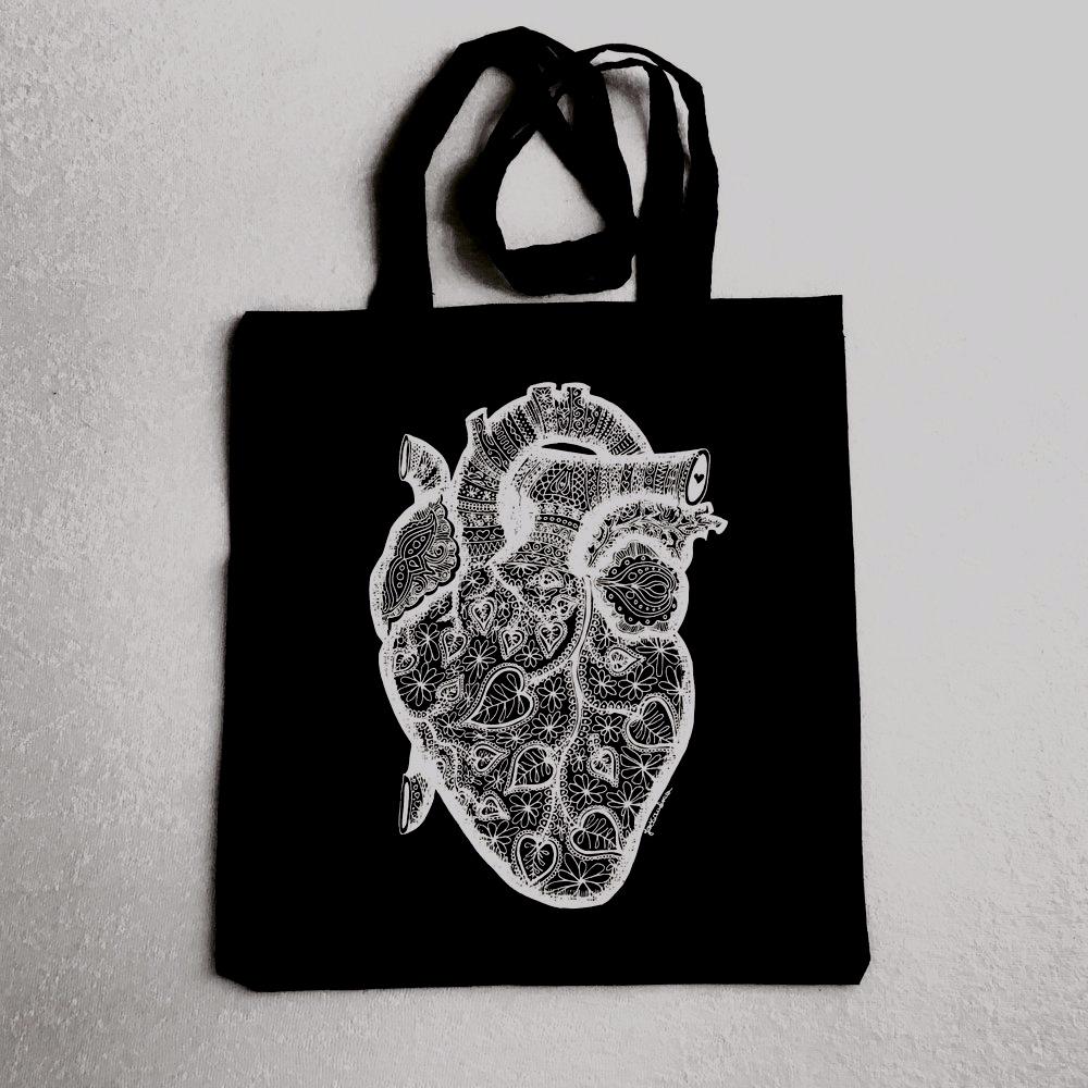 Szív anatómia textilzsák - Heart with Love tote bag