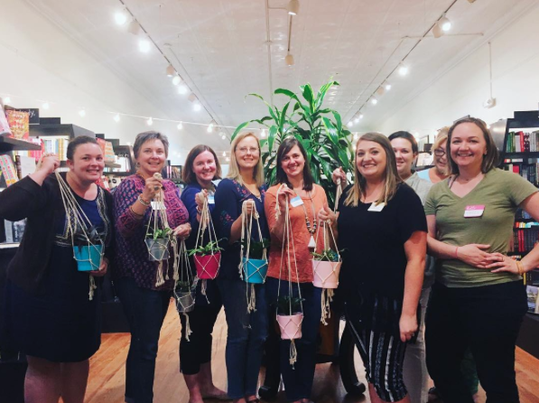 "PICTURE OF THE WEEK: We had a blast at last week's Happy Houseplants workshop. Each participant left with a macrame plant hanger they'd made themselves, plus a potted plant and a copy of either Happy Houseplants or House Jungle, depending on their skill level. Emily McKenna from You're Maker was a fabulous instructor, and we loved watching folks get creative in our shop. Stay tuned for more ""Entertain Your Inner Nerd"" classes at The Bookshelf!"