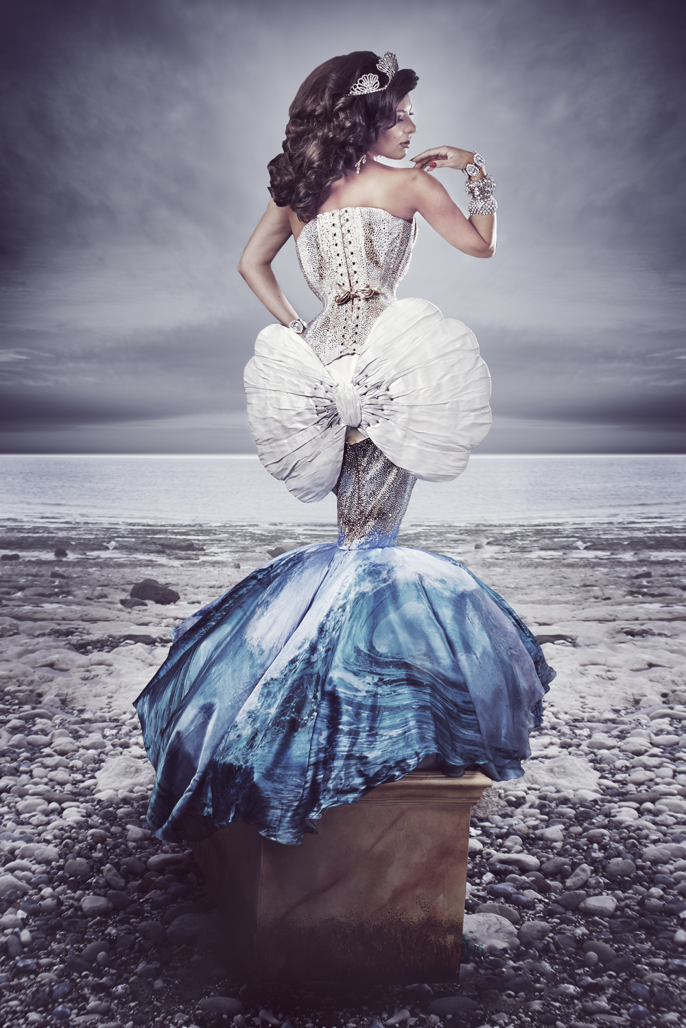 MODEL: Immodesty Blaize  HAIR: Robin Palowski  PHOTOGRAPHY & PHOTOSHOP: Coco Rococo  DRESS AND CAPE: The Whitechapel Workhouse