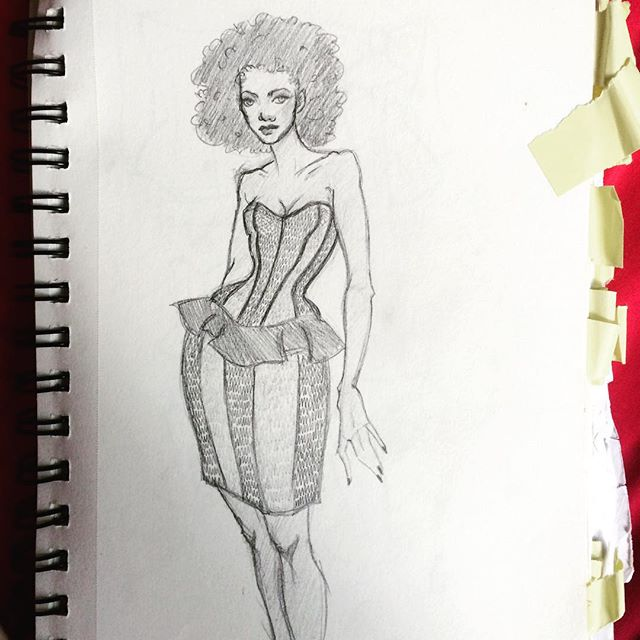 "Original sketch © Marianne Faulkner of ""College"" inspired corset dress design in color blocked herringbone coutil."