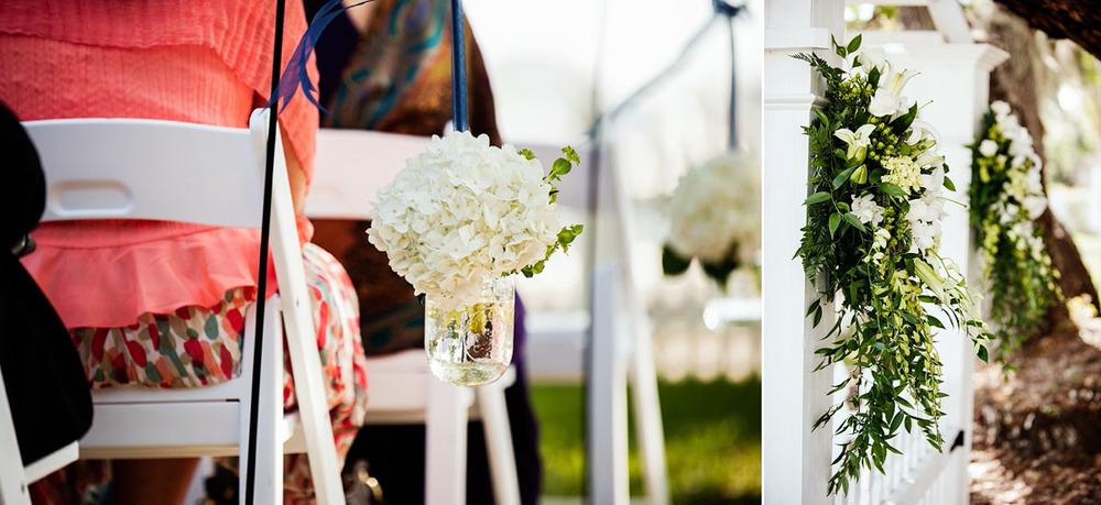 Palmetto Riverside bed and breakfast wedding, outdoor ceremony, ceremony decor