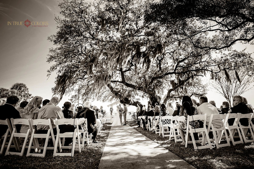Palmetto Riverside bed and breakfast wedding, outdoor wedding ceremony, black and white weddings