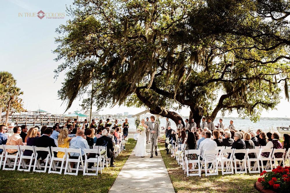 Palmetto Riverside bed and breakfast wedding, outdoor wedding ceremony, wedding photography, sarasota wedding photographer, in true colors photography