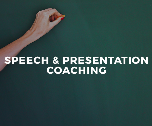 Speech & Presentation Coaching — one-on-one coaching