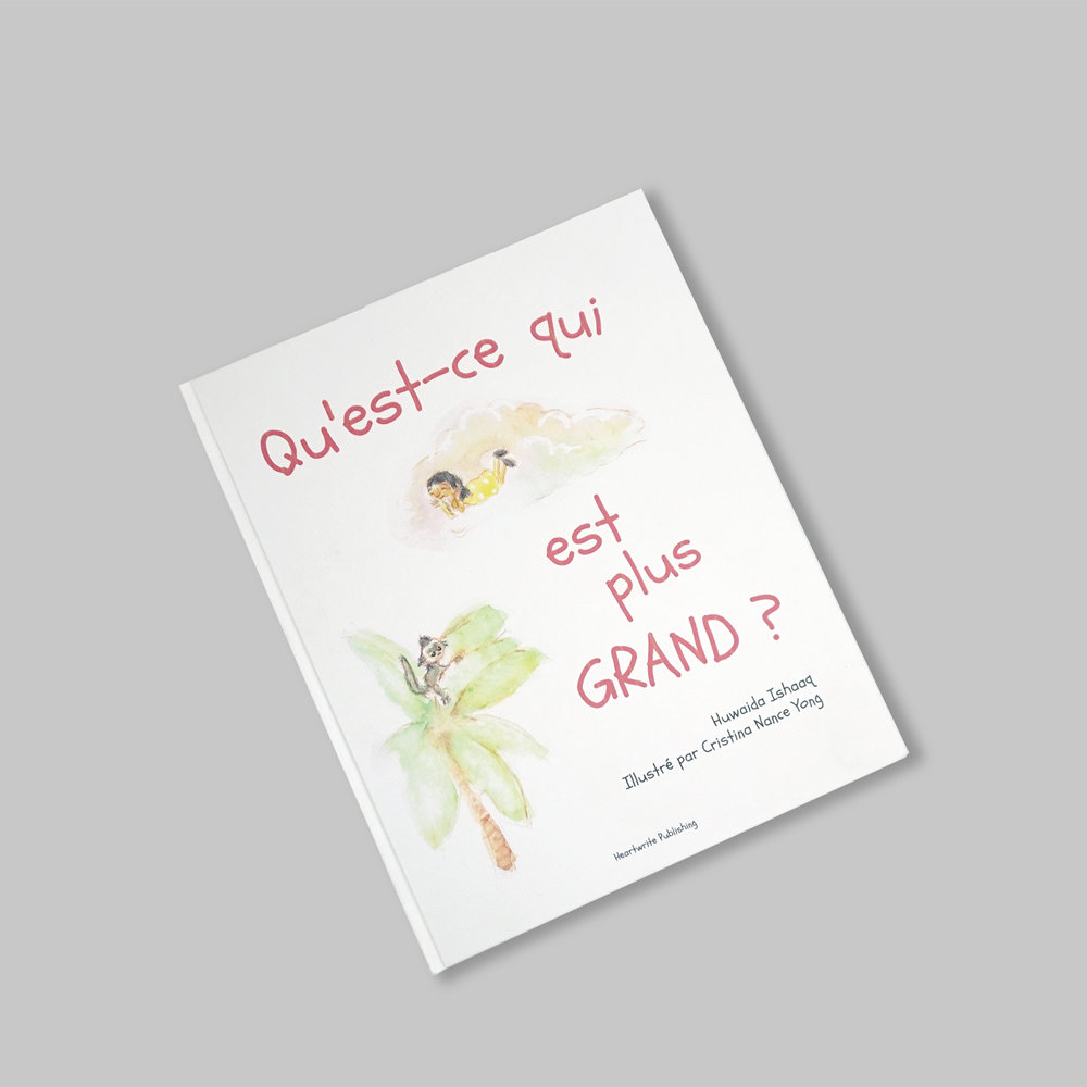 QU'EST-CE QUI EST PLUS GRAND? |  Special child lit by   Heartwrite Publishing   about Nina's adventure to the park with her grandfather. She's curious to learn what's bigger than her and what is even bigger than that. It's a very serious question for this little girl and at the end of the day she discovers a remarkable answer!  IDR 150.000   (Price above excludes shipping cost)  Fabric hardcover, art paper Book dimension: 19 x 23.5 cm