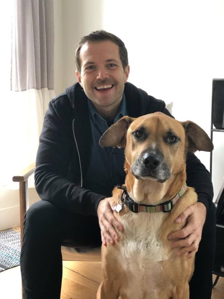 """February 2019 - Remember  Brutus , the first #SorayasSenior we rescued? We placed him with a loving family (and he and the toddler were BFFs) more than a year ago but they had a hard time keeping him safely contained and they asked us to take him back. We found a foster family for him and…. we are pleased to announce that it is a LOVE MATCH.His new dads write: """"When we decided to foster to Adopt, we wanted a puppy. We never thought we would adopt a senior dog namedBrutus, but as soon as he walked down the street after being dropped off from his foster house, I knew we couldn't let him go and his name wasn't gonna change. Brutus has brought so much joy and laughter into our lives we couldn't imagine life without him. He has taken over our bed and we are totally ok with it. He's been with us for 4 weeks and we are so excited to give him the best years to come of his life. He is the love of our lives and we know he is so happy to finally be home. We love every part of him and we are so happy to be his doggy parents forever. Hopefully more people will consider adopting senior dogs. They deserve all the love because they give more than we could ever give them!"""""""
