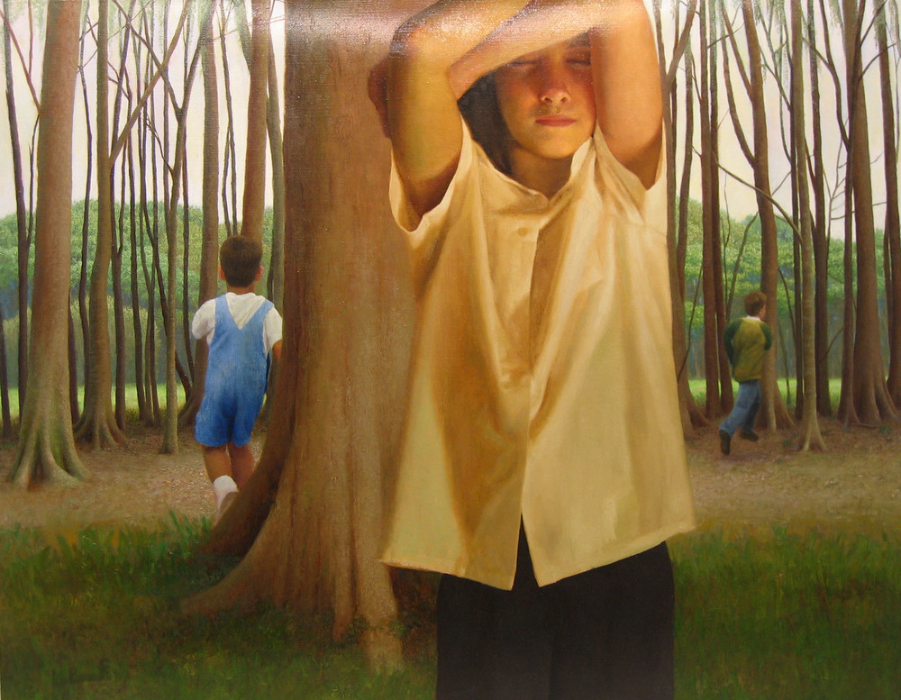 Bryan LeBoeuf   Hide,  2003  oil on linen  40 x 28 inches