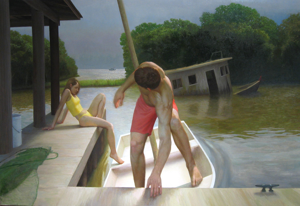 Bryan LeBoeuf   Trois Bateaux,  2004  oil on linen  66 x 96 inches
