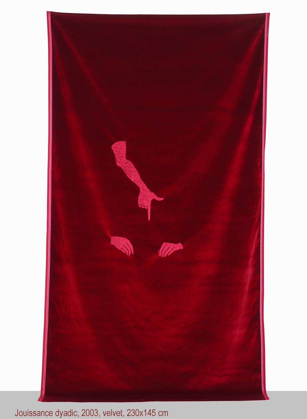 Maro Michalakakos   Jouissance Dyadic   2003  Velvet  109 x 56 inches