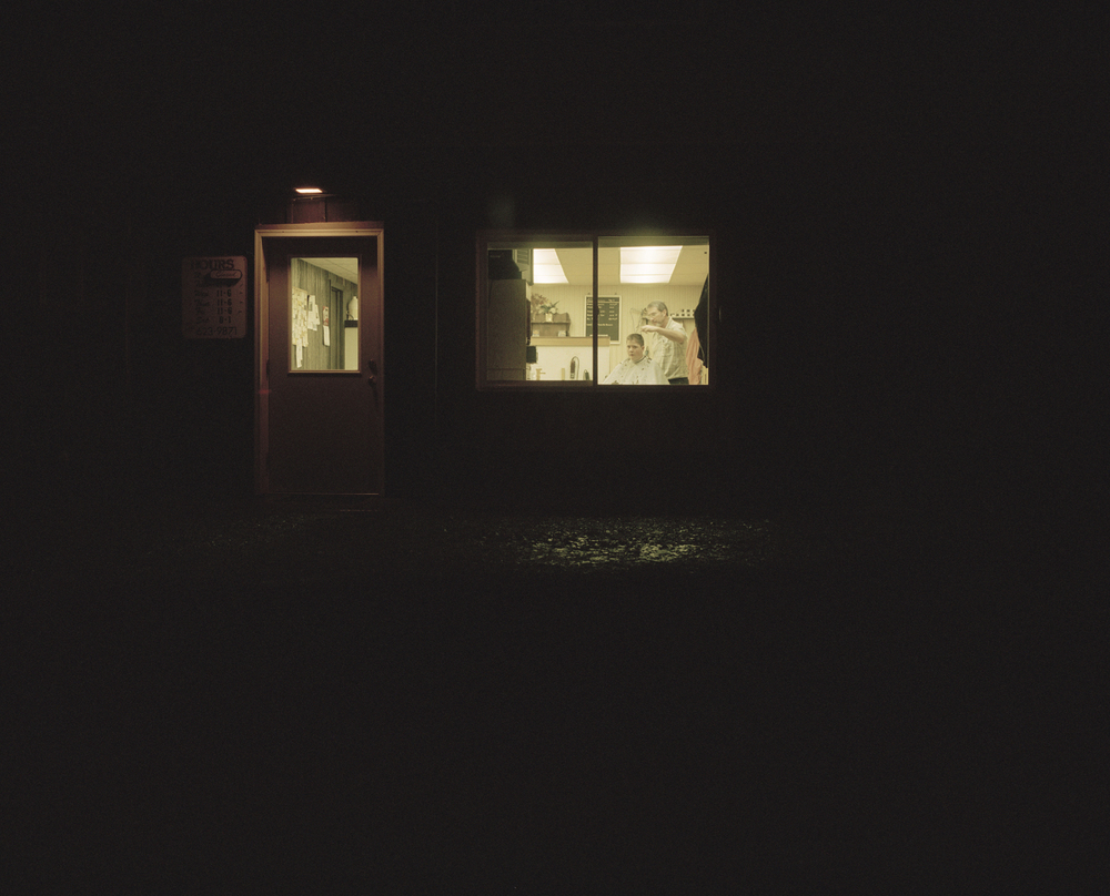 Barber Shop at Night, Constantia, NY.,    2007    Ink jet print, edition of 5 + 2AP    9.5 x 11.75 inches