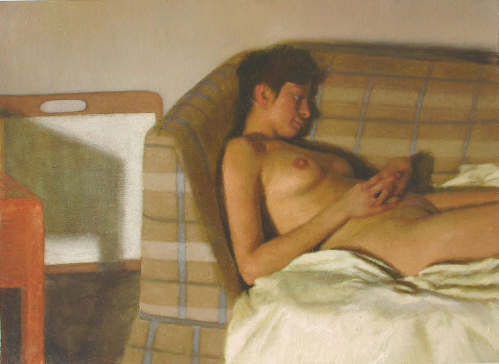 Bryan LeBoeuf   Christine on Eric's Couch , 2006   Oil on paper     10.5 x 14.75 inches