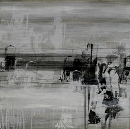 Marian Moratinos     Untitled (from the Metropolis Project series,)  2004    Mixed media on panel    46 x 46 inches