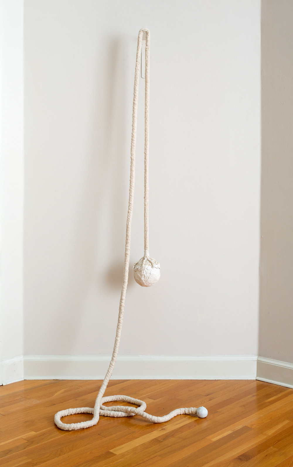 Jennifer Odem    Pearl,    2012    Cast hydrocal, cotton, flocking, steel    72 x 13 x 12 inches