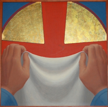 George Tooker  Stations of the Cross, 1984 (detail) egg tempera on board each, 14 x 14 x 1 1/8 inches (1 panel of 14)
