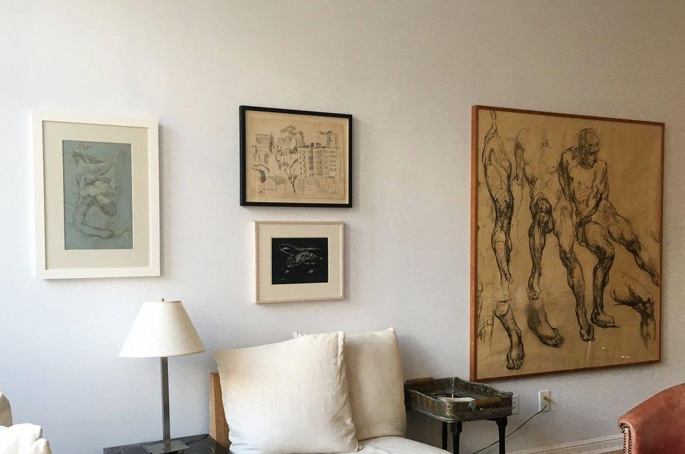 Installation Views (left to right): Paul Cadmus,  Reclining Male Nude  (ca. 1970); Jan Matulka,  Buildings and Watertower in the Bronx (study)  (ca. early 1920s); Lee Bontecou,  Untitled  (1973); George Bridgman,  Figure Studies II  (ca. 1920)