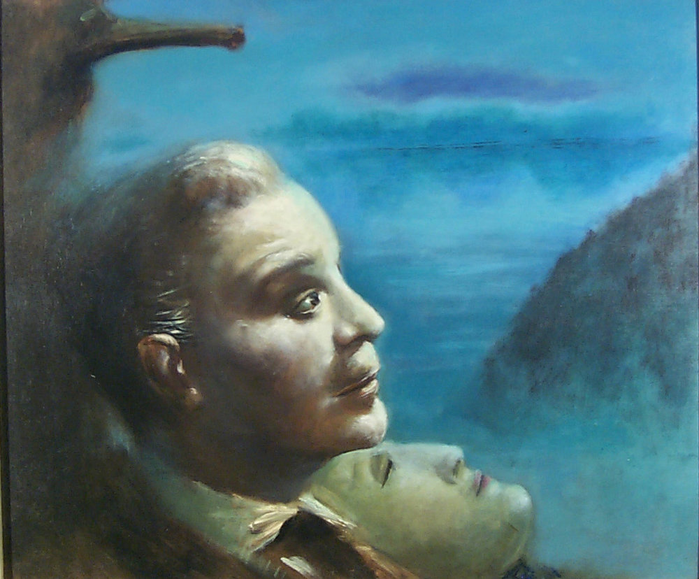 Guy Pène du Bois,  War Thoughts , 1953, oil on panel, 18 ⅛ x 21 ⅝ inches