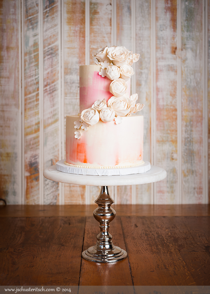 2 tier watercolor cake - sugar lane cake shop