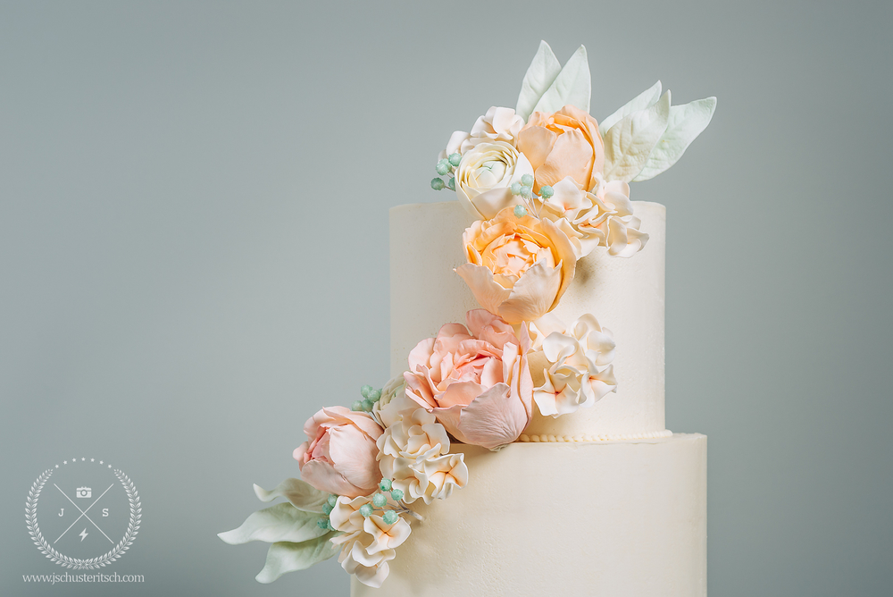Spring Peony Bridal Shower Cake - Sugar Lane Cake Shop
