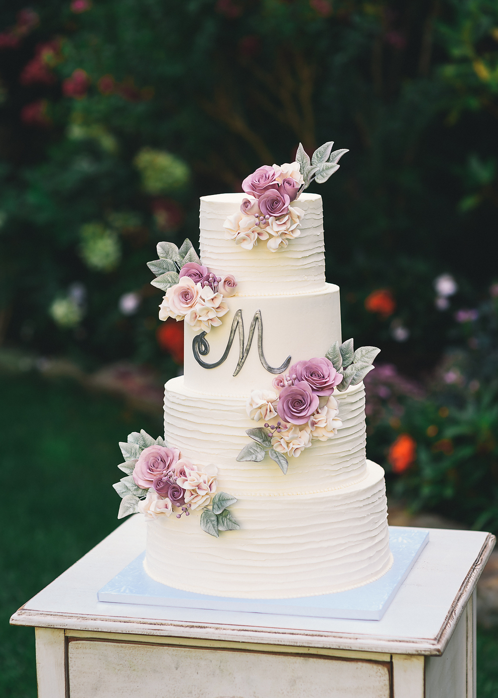 Ruffled Rose Wedding Cake - Sugar Lane Cake Shop