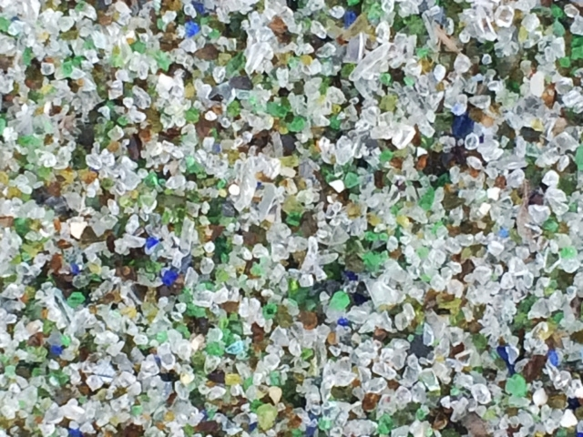 "gorgeous ""gravel"" pathway made up of crushed glass of all kinds at the Sims MRF in Sunset Park."