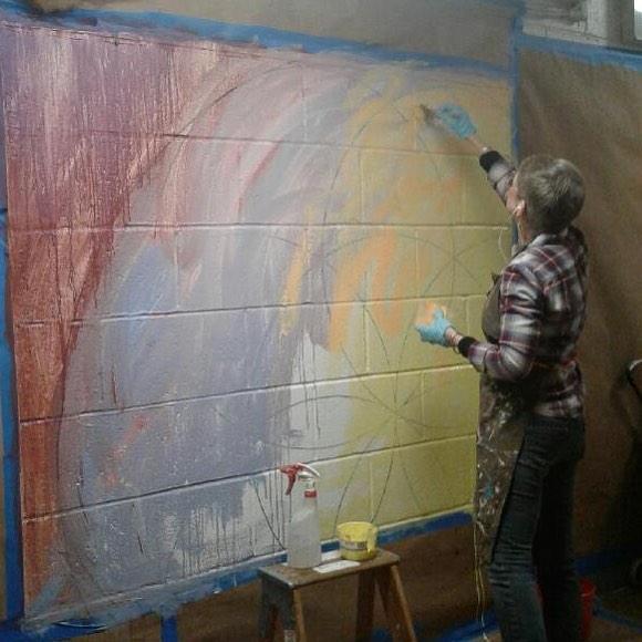 the mural begins by Kristin Reed @chashama artist :: #quadracares #wyckoffhouses #habitatforhumanity #brushwithkindness #makeitcount #chashama