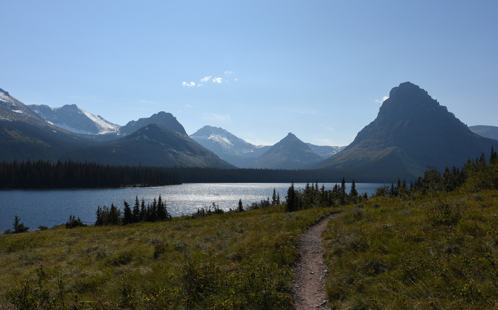 The weather was excellent on the first day as I start down the trail to my first night's destination: No Name Lake (Yes that is really the name). On the left is Two Medicine Lake.