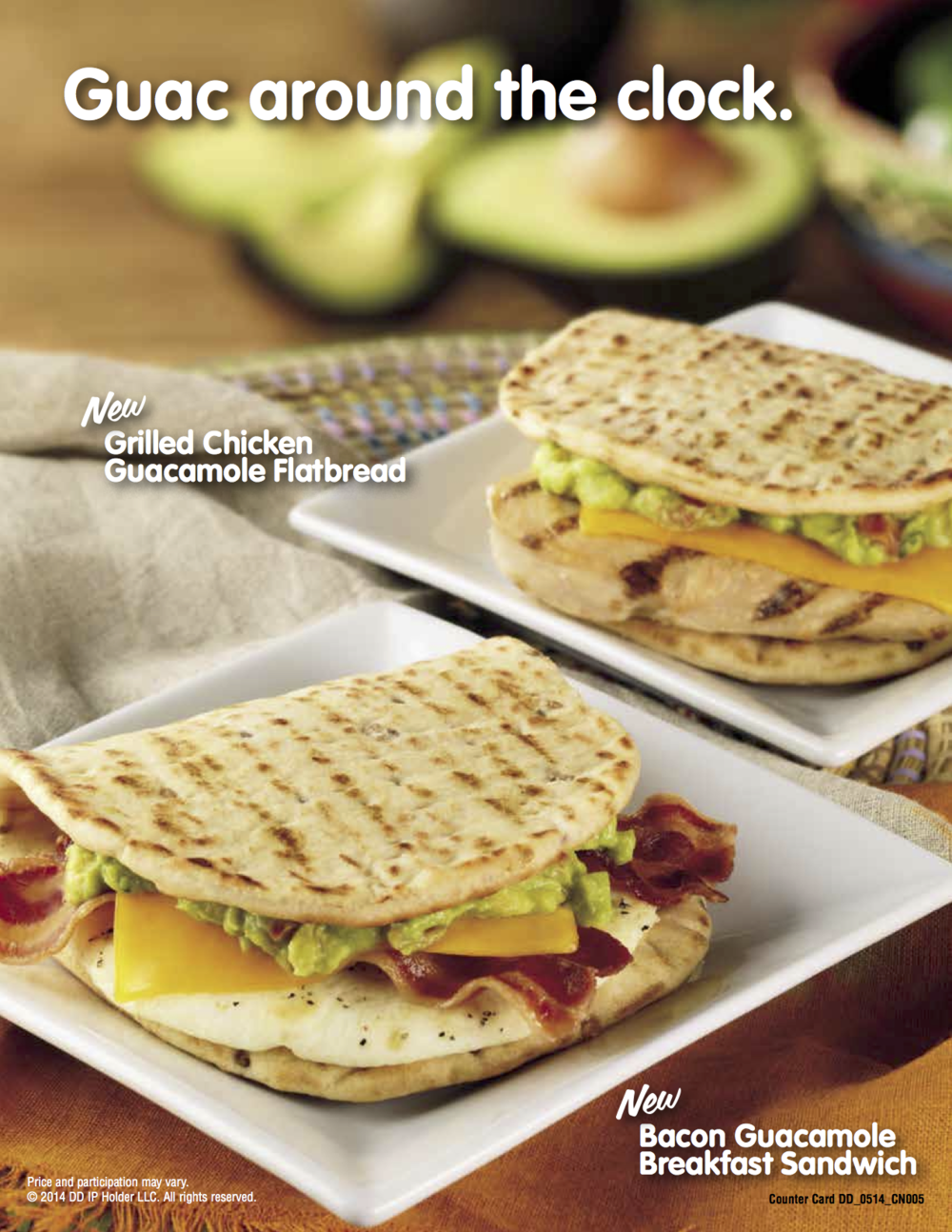 Guacamole is now available anytime on any sandwich, like the NEW Bacon Guacamole Breakfast Sandwich.