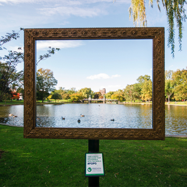 "Friends of the public garden    ""frame the garden""    pr stunt    &    ""A Walk in the park""    App"