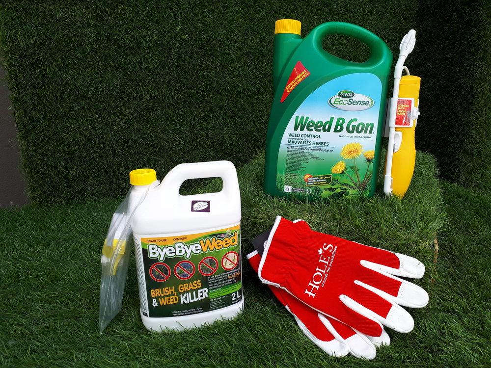 Weed B Gon Broadleaf Herbicide and Bye Bye Weed Non-Selective Weed Killer.