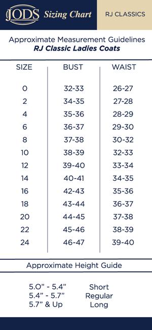 Sizing chart jods