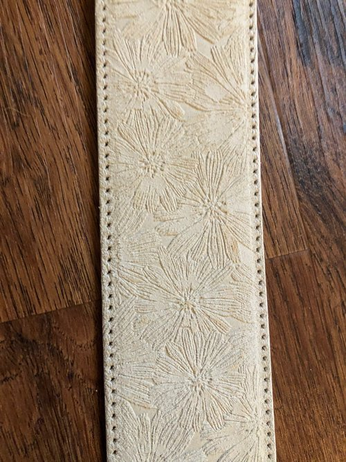 Tailored Sportsman Embossed Floral Print Leather Belt