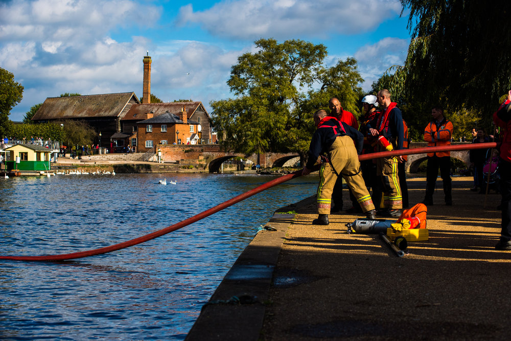 Warwickshire Search and Rescue with Stratford firefighters, during a team exercise they fill a hose with air and use it as a rigid rope to pull in a firefighter acting as a person in distress 15/10/2016